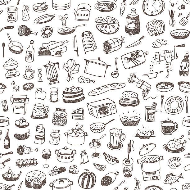 ilustraciones, imágenes clip art, dibujos animados e iconos de stock de cocinar alimentos fondo sin costuras - comida cruda