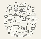 Cooking Foods and Kitchen icons set