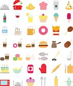 Cooking foods icons set in flat style