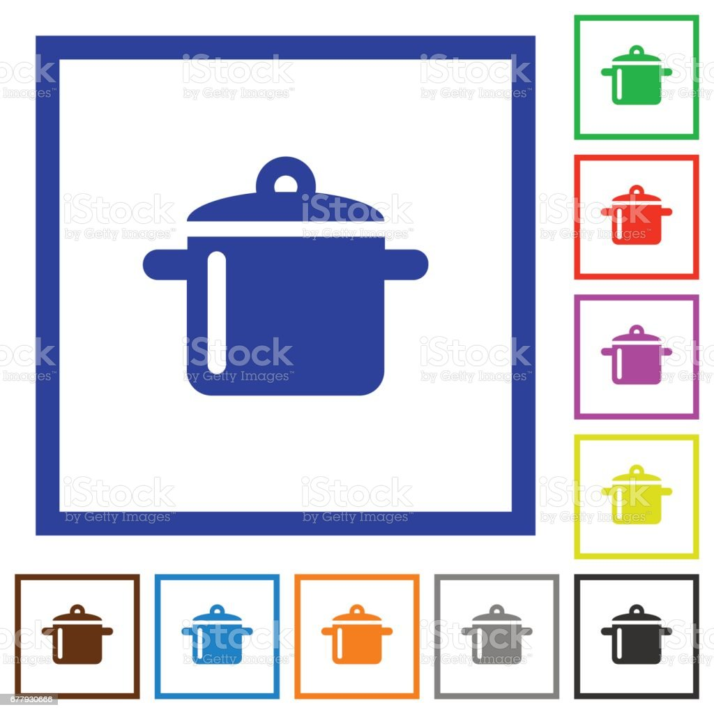 Cooking framed flat icons royalty-free cooking framed flat icons stock vector art & more images of applying