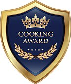 Cooking gold award with five stars and a crown.