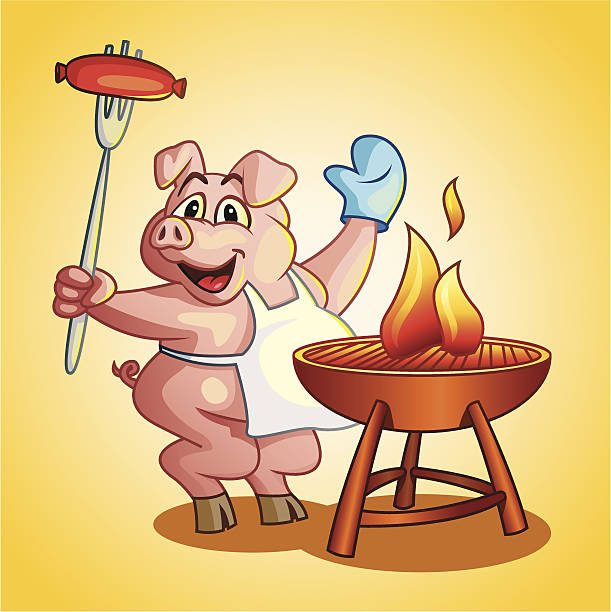 kochen grill schweinefleisch - schweinebraten stock-grafiken, -clipart, -cartoons und -symbole