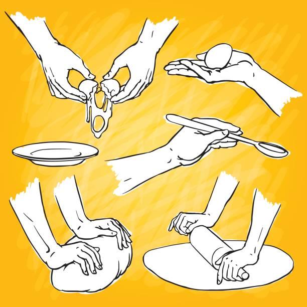 illustrazioni stock, clip art, cartoni animati e icone di tendenza di cooking hands - impastare