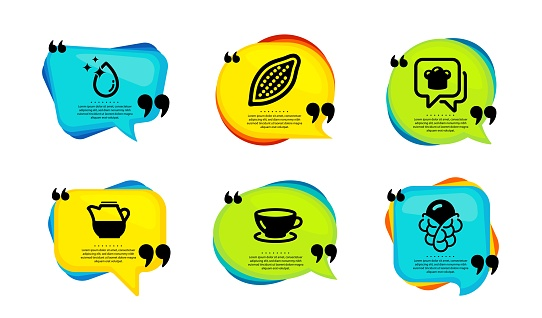 Cooking hat, Cocoa nut and Espresso icons set. Water drop, Milk jug and Ice cream signs. Vector