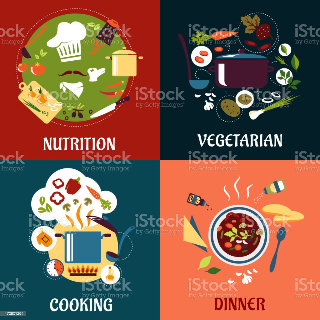 Healthy fresh food flat concept depicting cooking process with...