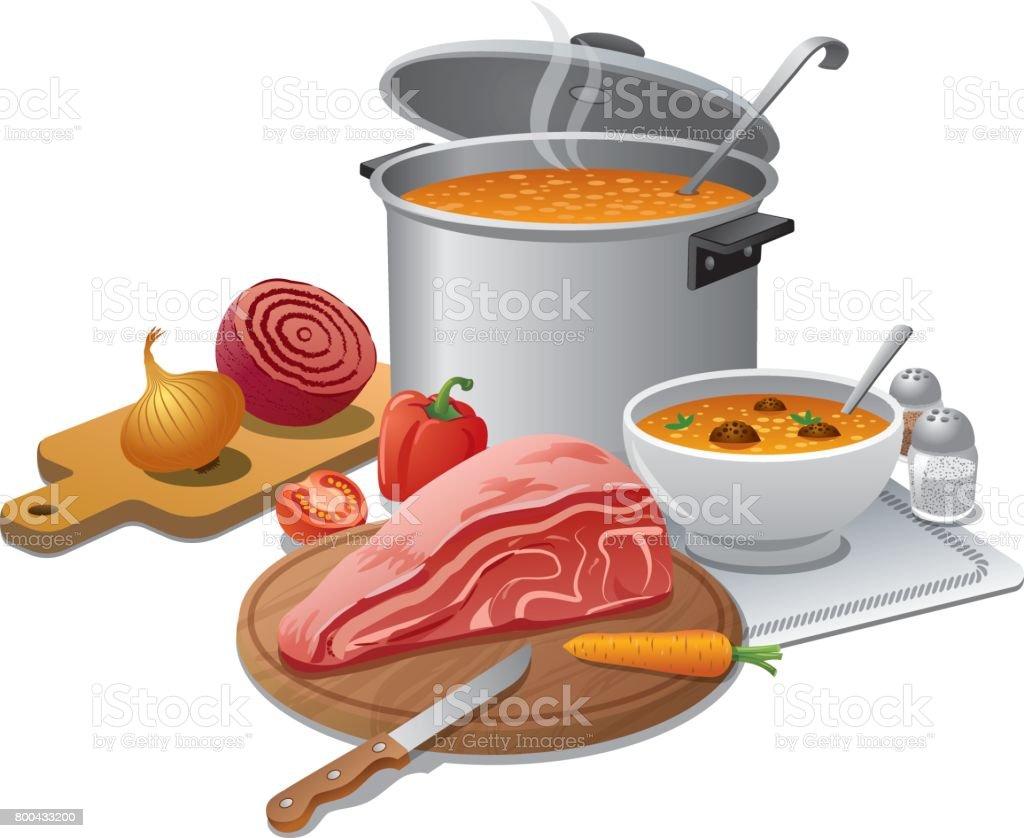 cooking hot soup vector art illustration