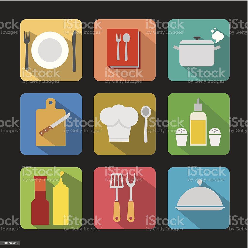 cooking icon set flat vector art illustration
