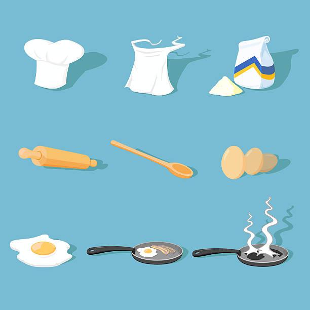 ilustrações de stock, clip art, desenhos animados e ícones de conjunto de ícones de cozinha - burned cooking