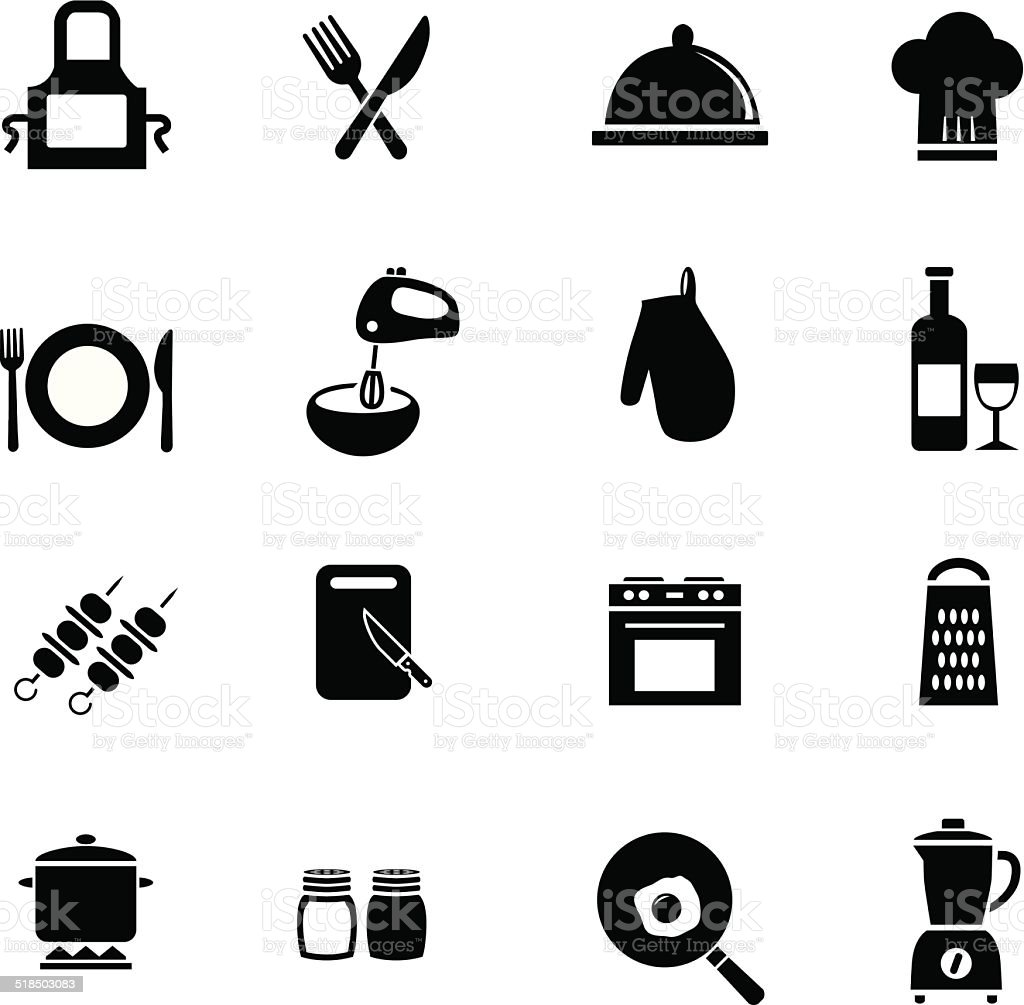 cooking icon set vector art illustration