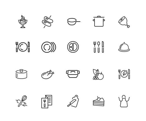 kochen icon-set - portion stock-grafiken, -clipart, -cartoons und -symbole