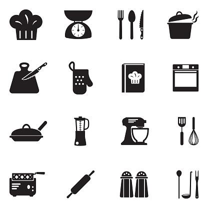 Cooking Icons. Black Flat Design. Vector Illustration.