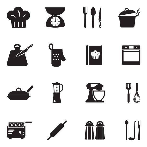 kochen symbole. schwarze flache bauweise. vektor-illustration. - küchenmixer stock-grafiken, -clipart, -cartoons und -symbole