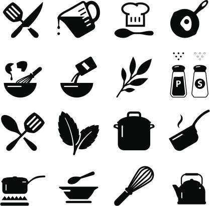 Cooking Icons Black Series向量圖形及更多住宅廚房圖片