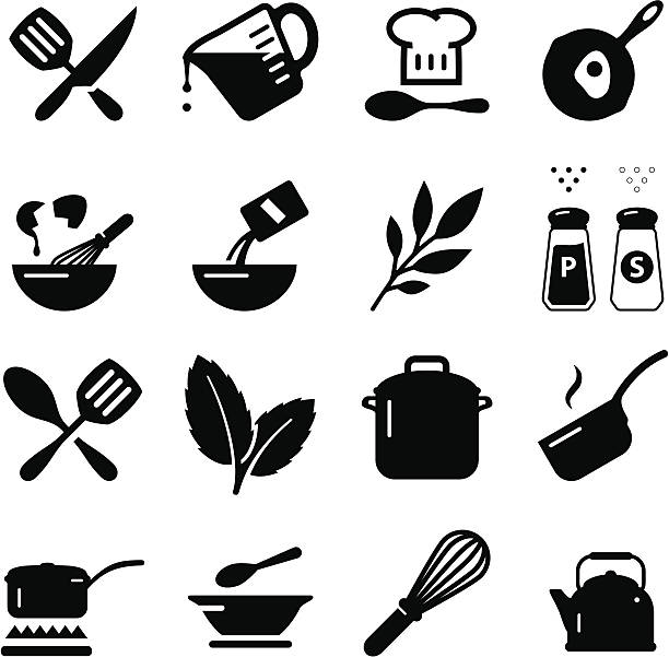 cooking icons - black series - mixing bowl stock illustrations, clip art, cartoons, & icons