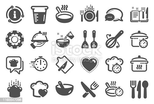 istock Cooking icons. Boiling time, Frying pan and Kitchen utensils. Vector 1165547098