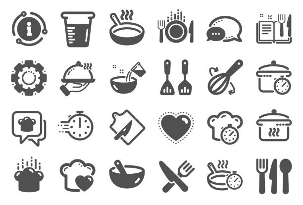 Cooking icons. Boiling time, Frying pan and Kitchen utensils. Vector Cooking icons. Boiling time, Frying pan and Kitchen utensils. Fork, spoon and knife icons. Recipe book, chef hat and cutting board. Cooking book, frying time, hot pan. Quality set. Vector cooking icons stock illustrations