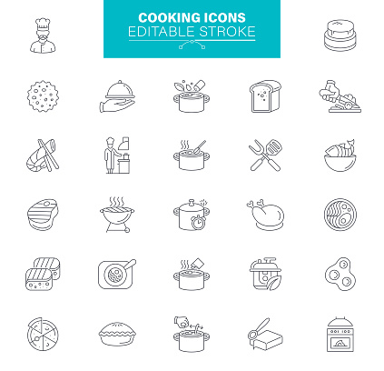 Cooking Icons Editable Stroke. Contains such Icons as Restaurant, Food, Frying Pan, Boiling