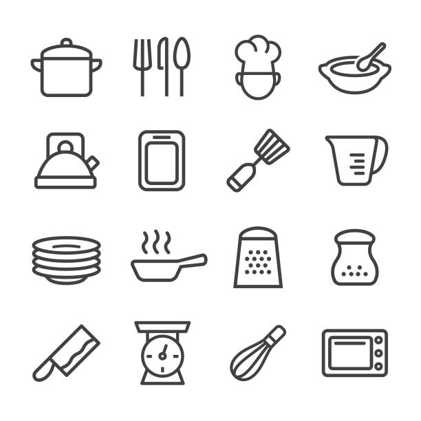 Cooking Icons - Line Series Cooking, kitchen cooking stock illustrations