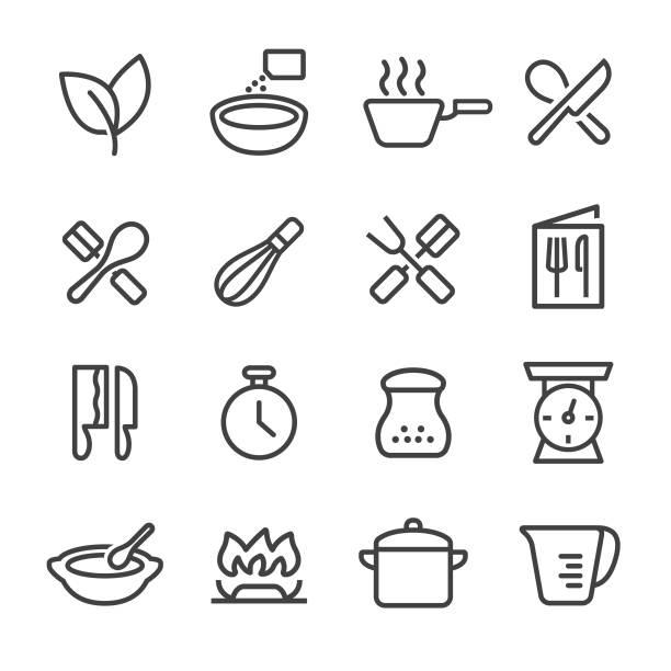 ikony gotowania - seria liniowa - liść mięty przyprawa stock illustrations