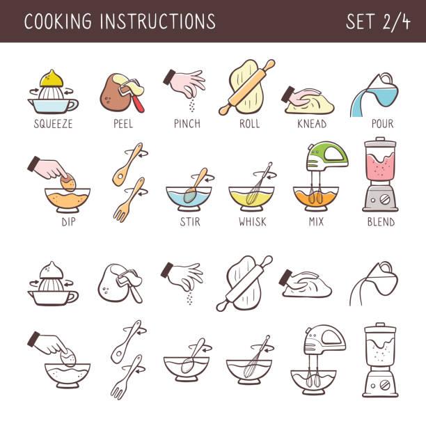 illustrazioni stock, clip art, cartoni animati e icone di tendenza di cooking icons, set 2 of 4 - impastare