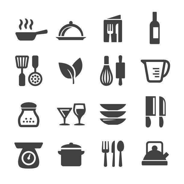 stockillustraties, clipart, cartoons en iconen met koken icons set - acme serie - bord serviesgoed