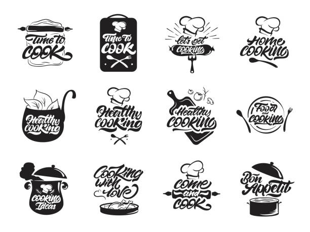Cooking icons set. Healthy cooking. Bon appetit. Cooking idea.  Cook, chef, kitchen utensils icon or icon. Handwritten lettering vector illustration Cooking icons set. Healthy cooking. Bon appetit. Cooking idea.  Cook, chef, kitchen utensils icon or icon. Handwritten lettering vector illustration chef's hat stock illustrations