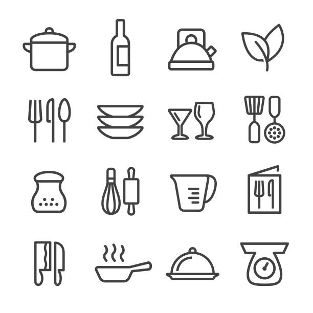 Cooking Icons Set - Line Series Cooking, Kitchen, Restaurant, grater utensil stock illustrations