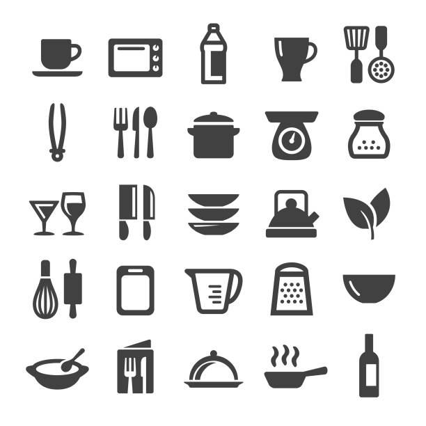 cooking icons set - smart series - mixing bowl stock illustrations, clip art, cartoons, & icons