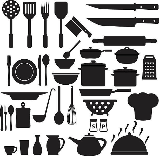 Cooking Icons Set Cooking Icons cooking silhouettes stock illustrations