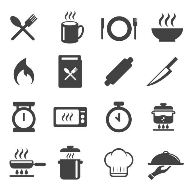 cooking icons set. vector illustration. cuisine , kitchen design concept. cooking icons set. vector illustration. cuisine , kitchen design concept. cooking symbols stock illustrations
