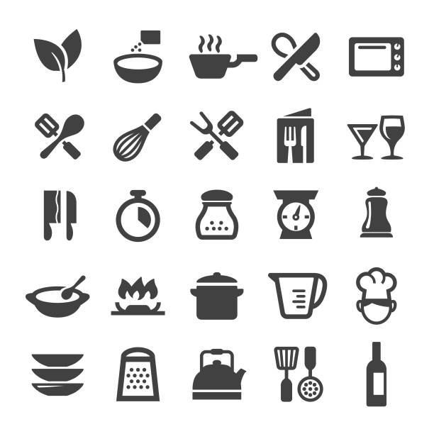 Cooking Icons - Smart Series Cooking, kitchen utensil, restaurant, domestic kitchen, frying pan stock illustrations