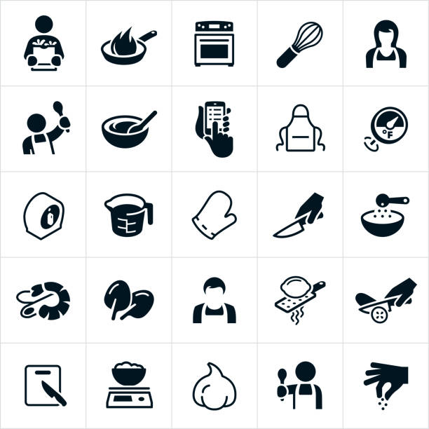 Cooking Icons A set of cooking icons. The icons include people cooking, cooks, chefs, diy, frying pan, cooking, stove, whisk, mixing bowl, recipe, apron, thermometer, timer, measuring cup, oven mitt, knife, cutting, food prep, ingredients, shrimp scampi, spinach, lemon zest, cutting board, food scale and garlic to name a few. cooking icons stock illustrations