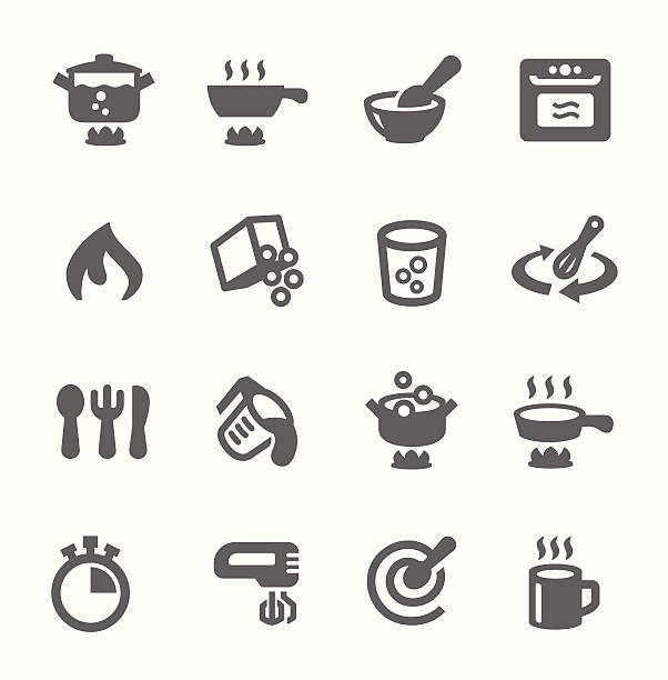 Cooking icons Simple set of cooking related vector icons for your design oven stock illustrations