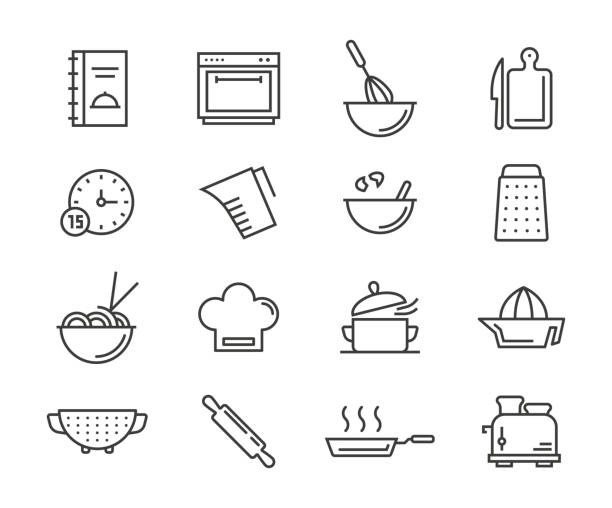 illustrazioni stock, clip art, cartoni animati e icone di tendenza di cooking icons - cucina domestica