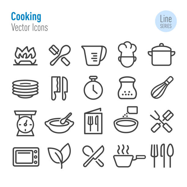 Cooking Icons - Vector Line Series Cooking, restaurant, mixing bowl stock illustrations