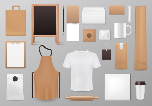 Cooking identity Realistic 3d blank vector mockup