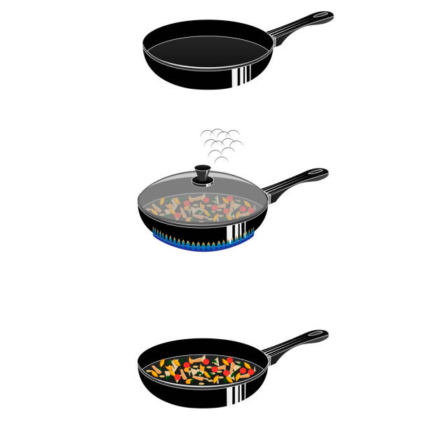 bildbanksillustrationer, clip art samt tecknat material och ikoner med matlagning i en stekpanna - frying pan