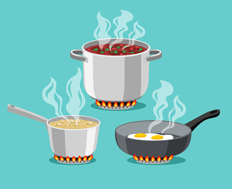 Cooking in home pans. Boiling pot and fried pan set, cartoon steel cooking pots with boiling soup and fried egg