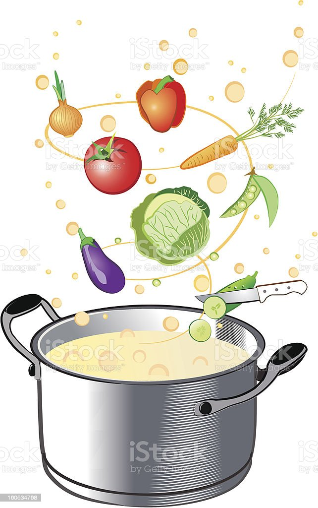 Cooking in pan royalty-free stock vector art