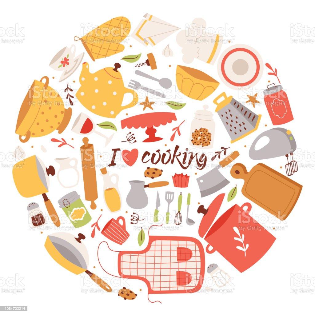 Cooking Ingredients And Utensils Background Vector