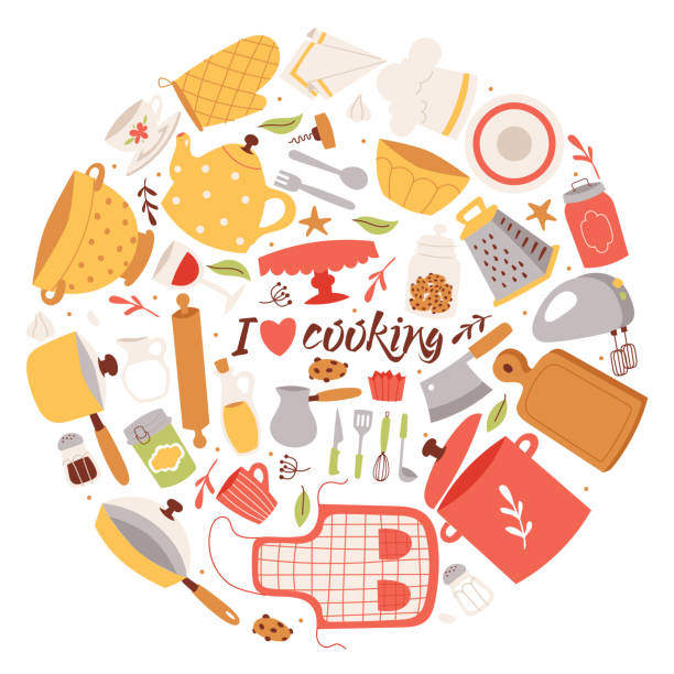 Cooking ingredients and utensils background vector illustration. Cartoon kitchen culinary tableware elements for cooking poster, banner, brochure. I love cooking. Cooking ingredients and utensils background vector illustration. Cartoon kitchen culinary tableware elements for cooking poster, banner, brochure. I love cooking. Apron, pan, pot, grater, bowl, mixer grater utensil stock illustrations