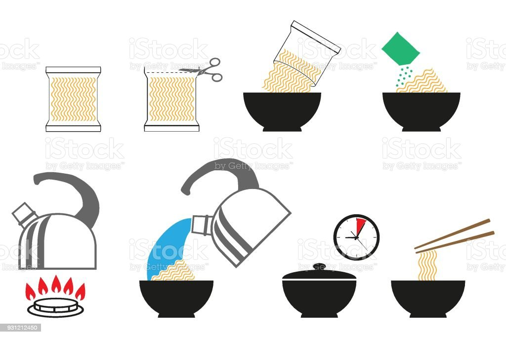 Cooking Instruction Icon Set Instant Noodles Noodle Soup Stock Illustration Download Image Now Istock