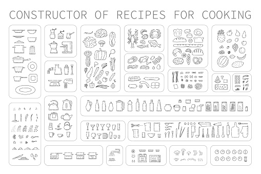 Cooking instruction icons of different food utensils and appliances for kitchen. Step guide constructor set line art vector black white isolated illustration.