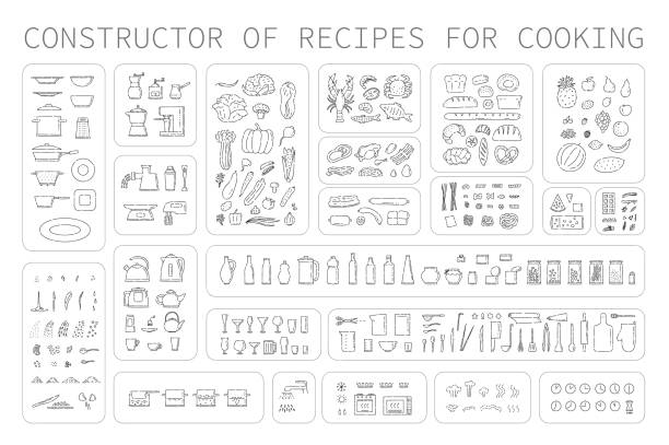 Cooking instruction icons of different food utensils and appliances for kitchen. Step guide constructor set line art vector black white isolated illustration. Cooking instruction icons of different food utensils and appliances for kitchen. Step guide constructor set line art vector black white isolated illustration cooking stock illustrations