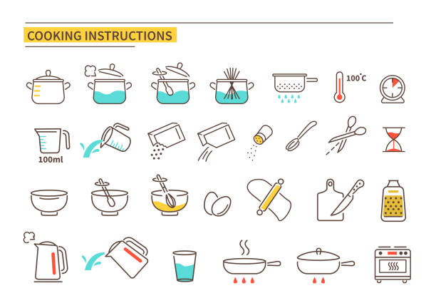cooking instruction Cooking instruction icons. Line style vector illustration isolated on white background. cooking icons stock illustrations