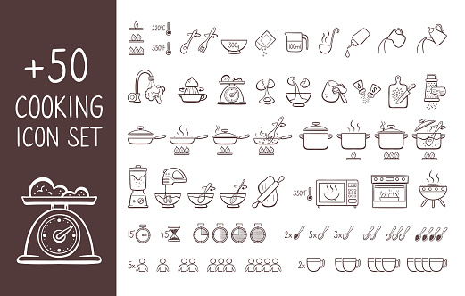 Cooking instructions doodle icon set