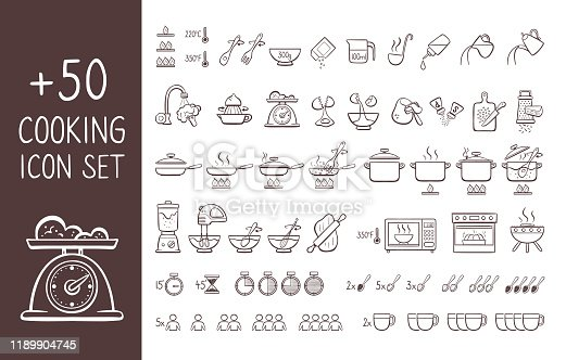 Set of hand drawn cooking icons, perfect for giving cooking instructions and explain cooking recipes. Hand drawn doodle icons isolated on white background.