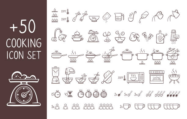 Cooking instructions doodle icon set Set of hand drawn cooking icons, perfect for giving cooking instructions and explain cooking recipes. Hand drawn doodle icons isolated on white background. book clipart stock illustrations