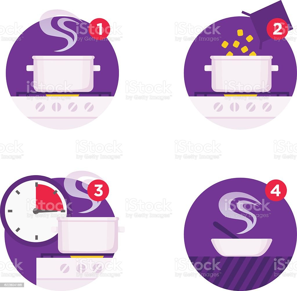 Cooking instructions icons vector art illustration