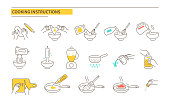 Cooking instructions icons. Recipe guideline symbols. Line style vector illustration isolated on white background.